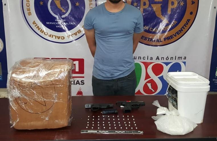 Detiene PEP a sujeto con drogas y armas en poblado Los Algodones