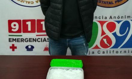 Arresta PEP a sujeto con más de medio kilo de metanfetamina