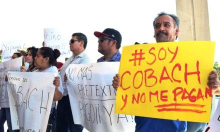Tras protesta, anuncia COBACH pago de catorcena a trabajadores
